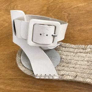 J. Crew Shoes - j crew white leather espadrille sandals - size 9